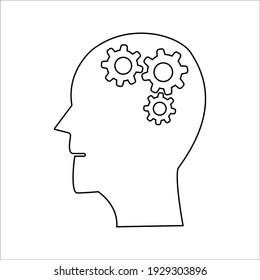 Head with gear icon. Idea logo. Symbols of thinking.
