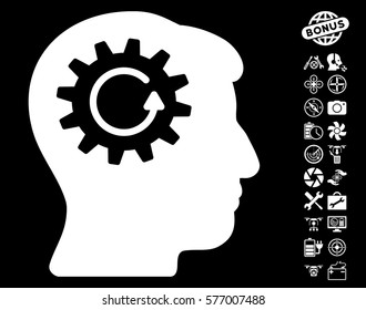 Head Gear Rotation icon with bonus airdrone tools graphic icons. Vector illustration style is flat iconic white symbols on black background.