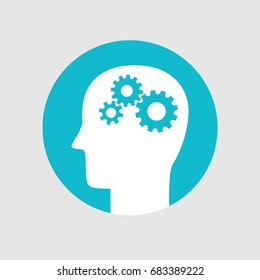 Head with gears, Brain activity icon flat style. Creative logo design. Modern vector pictogram concept for web design
