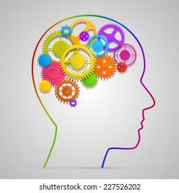 Head with gears in brain. Vector illustration