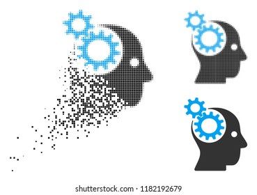 Head gears icon in dispersed, pixelated halftone and original versions. Cells are organized into vector dissipated head gears icon. Disintegration effect involves square scintillas.