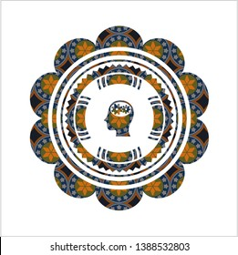 head with gears inside icon inside arabesque style badge. arabic decoration.