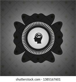 head with gears inside icon inside black emblem. Vintage.