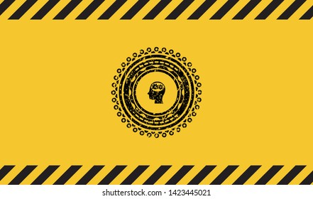 head with gears inside icon black grunge emblem inside yellow warning sign. Vector Illustration. Detailed.