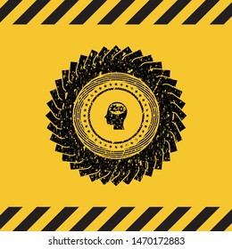 head with gears inside icon black grunge emblem, yellow warning sign. Vector Illustration. Detailed.