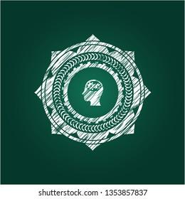 head with gears inside icon inside chalkboard emblem