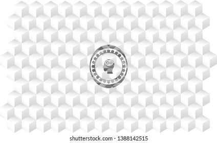 head with gears inside icon inside grey emblem with geometric cube white background
