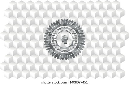 head with gears inside icon inside grey emblem with cube white background