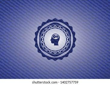 head with gears inside icon inside jean background