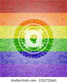 head with gears inside icon inside lgbt colors emblem