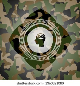 head with gears inside icon on camouflaged pattern