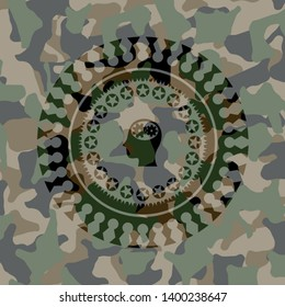 head with gears inside icon on camo pattern
