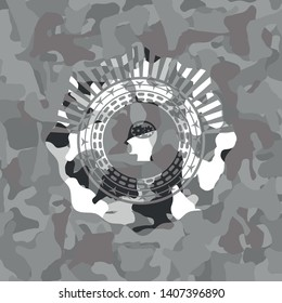 head with gears inside icon on grey camouflaged texture