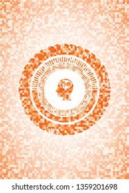head with gears inside icon inside orange tile background illustration. Square geometric mosaic seamless pattern with emblem inside.