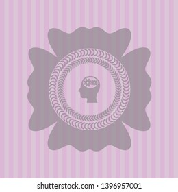 head with gears inside icon inside pink emblem. Retro