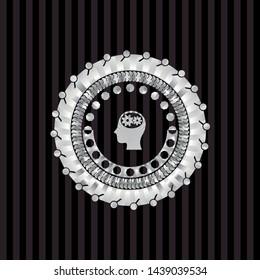 head with gears inside icon inside silver shiny emblem