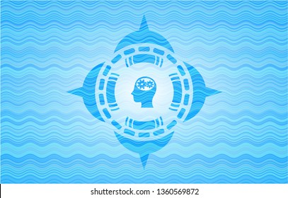 head with gears inside icon inside water wave concept emblem background.