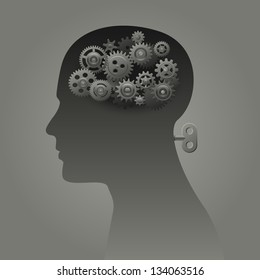 Head with gears and wind up mechanism, psychology concept, eps10 vector