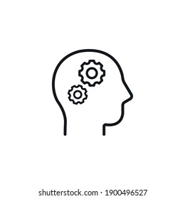 Head with Gears, head with working gears symbol - simple line icon vector