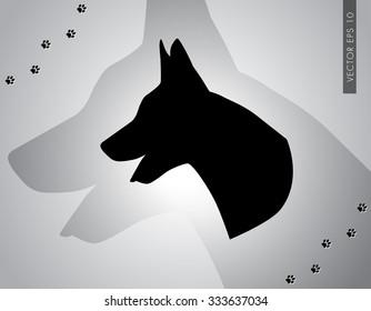 Head of German Shepherd Silhouette - vector