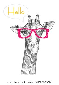 32a6c6ec3f4 The head of a giraffe hipster. Giraffe in hipster glasses. Hand-drawn sketch
