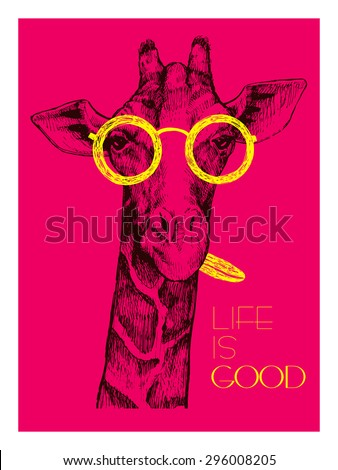 b2cebfbefd1 The head of a giraffe hipster. Giraffe in round glasses on bright background.  Hand