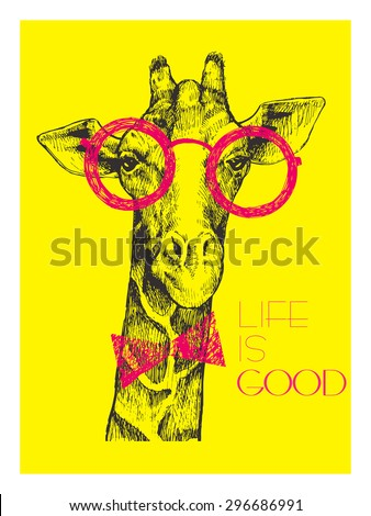 cf32dd95196 The head of a giraffe hipster. Giraffe in round glasses on bright yellow  background. Hand-drawn sketch of a giraffe. Giraffe from the front.