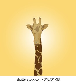 head of a giraffe on a yellow background