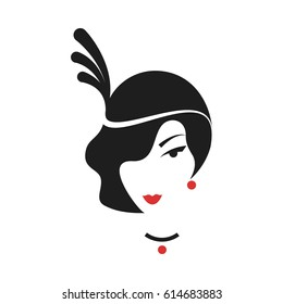 Head of a girl with a hairdo in the style of the 20's. Silhouette. Vector.