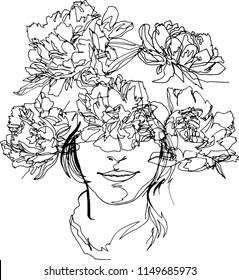 The head of a girl with a wreath of flowers, fashion-illustration. Peony flowers, minimalist black and white, continuous line, flora fauna, beauty, fashion, aesthetics, plants, modern art, emotional