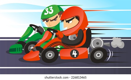 head to head go kart racers cartoon illustration