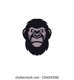 Head Gorilla Logo Design Vector