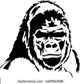 The head of a gorilla silhouette, symbol.Black illustration isolated on white background.