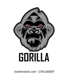 head gorilla vector design for sport logo