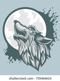 The head of a gray wolf howling to the moon.