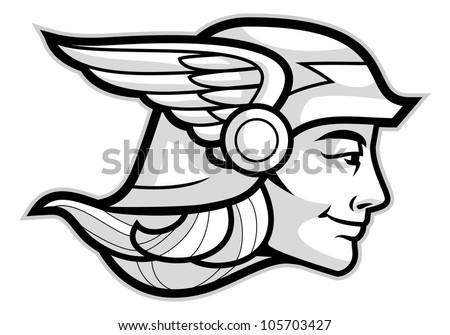 Head Greek God Hermes Isolated On Stock Vector Royalty Free