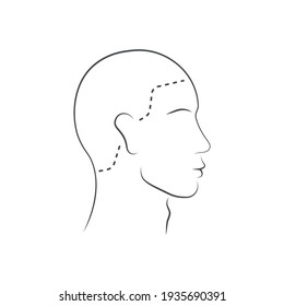 Head guidelines for barbershop, haircut salon. Human head icon. Lined male head in side view isolated on white background. Vector illustration