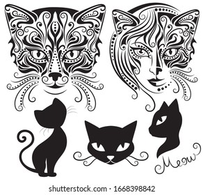 Head of a half woman and half a cat. Vector illustration of silhouette of cat's head on a white background. Set of cats silhouettes.