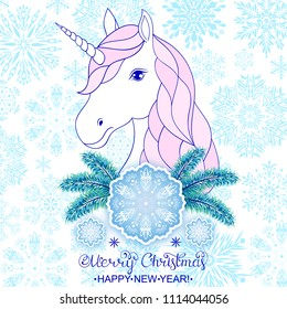 Head of hand drawn unicorn with big snowflake and pine branches.Christmas card.
