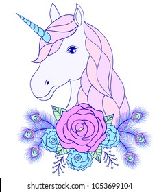 Head of hand drawn unicorn with floral wreath on white background
