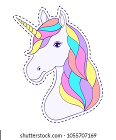 Head of hand drawn unicorn with floral wreath on white background.Sticker for laptop sleeves,skins,cases,wallets etc. Vector illustration.