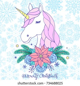 Head of hand drawn unicorn with floral wreath on white background.Christmas card.Vector illustration.