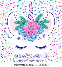 Head of hand drawn unicorn with floral wreath on white background with confetti.Christmas card.