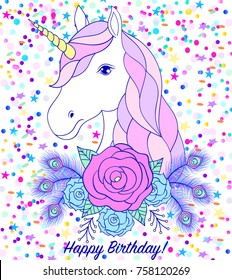 Head of hand drawn unicorn with floral wreath on white background with confetti. Birthday card.