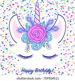 Head of hand drawn unicorn with floral wreath on white background with confetti.Birthday card.