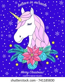 Head of hand drawn unicorn with flowers  on  dark blue background.Christmas card.Vector illustration.