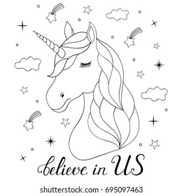 Head of hand drawn unicorn on white background. Coloring page for children and adult.Vector illustration.