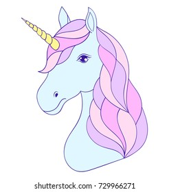 Head of hand drawn unicorn on white background.Vector illustration.