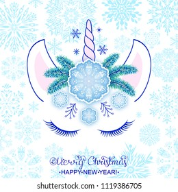 Head of hand drawn unicorn with snowflakes. Christmas card.Vector illustration.