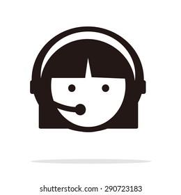 Head in Headphones - Vector icon isolated